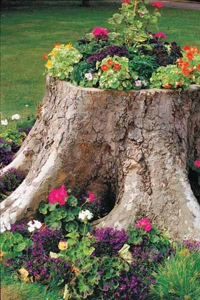 Make A Tree Stump Planter _9